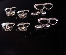 Eyeglass Cufflinks catseye hollywood style tuxedo set silver studs optom... - $195.00