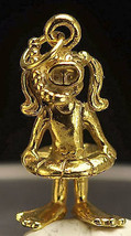 24kt Gold plated GIRL SNORKELING 3D CHARM Swimming Swim - $24.88