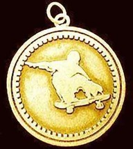 Gold Plated SKATE BOARD Faith God prayer Silver Charm - $37.38