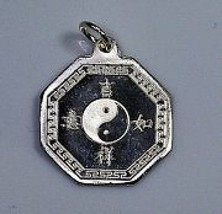 Chinese Yin Yang Sterling Silver charm Health Wealth - $22.02