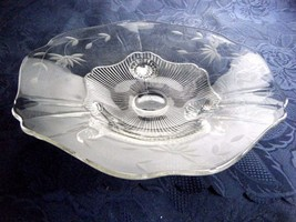 Elegant Glass Three Footed Bowl Etched Floral Pattern - $19.75