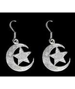Celtic luna earrings Moon & star Goddess silver jewelry - $30.63