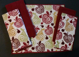 APPLE KITCHEN SET 5pc Towels Drying Mat Dish Cloths Scrubbers Microfiber Red NEW - $12.99