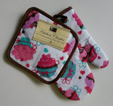 CUPCAKES OVEN MITT SET 2 Piece Potholder Cotton Brown Pink Cake Dessert NEW - $6.99