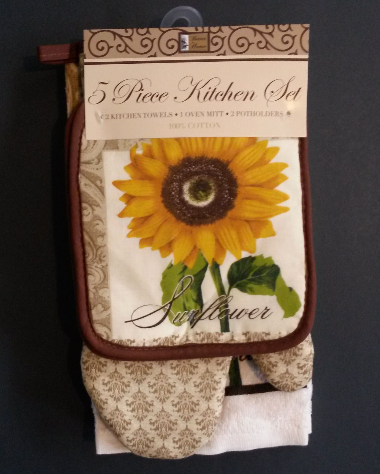 SUNFLOWER  KITCHEN LINENS 5-pc  Towels Potholders Mitt Fleur-de-Lis Brown NEW