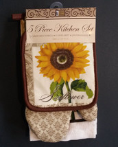 SUNFLOWER  KITCHEN LINENS 5-pc  Towels Potholders Mitt Fleur-de-Lis Brow... - $13.99