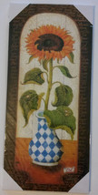 "SUNFLOWER Wood Wall Art, Flowers Country Hanging Plaque, Floral 16""x7"" NEW - $14.99"