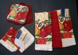 Fruit Theme Kitchen Set 7-pc Towels Potholders Cloths Red Country Apple Pear New - $13.99