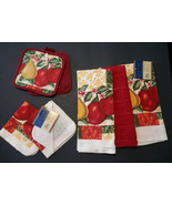 FRUIT theme KITCHEN SET 7-pc Towels Potholders Cloths Red Country Apple ... - $13.99