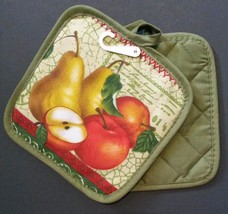 FRUIT Theme POTHOLDERS Set of 2 Rustic Fruit Apple Pear Green NEW - $4.99