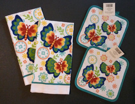 Butterfly Kitchen Set 4pc Towels Potholders Flowers Rainbow Butterflies NEW - $13.99