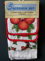 APPLE TREE KITCHEN SET 5-pc Red Apples Leaves Towels Potholders Mitt NEW - $14.99