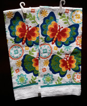 BUTTERFLY KITCHEN TOWELS Set of 2 Colorful Butterflies Flowers Blue Green NEW - $7.99