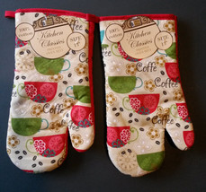 COFFEE theme OVEN MITTS Set of 2 Colorful Cups Red trim NEW - $7.99