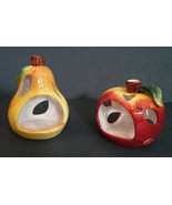 APPLE PEAR TEALIGHT CANDLE HOLDERS Ceramic Holder Fruit Decor NEW - $14.99