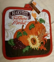 AUTUMN theme POTHOLDER Harvest Farmer's Market Sunflower Pumpkin Orange NEW - $3.99