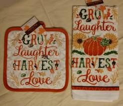 AUTUMN theme KITCHEN SET 2-piece Towel Potholder Grow Laughter Harvest Love NEW