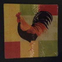 """Rooster Cutting Board Trivet Hot Plate Glass 8"""" Square New - $6.99"""