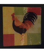 "ROOSTER CUTTING BOARD Trivet Hot Plate Glass 8"" Square NEW - $6.99"
