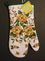 "FLOWER theme OVEN MITT Yellow Rose Flowers Green Garden 12"" NEW - $3.99"