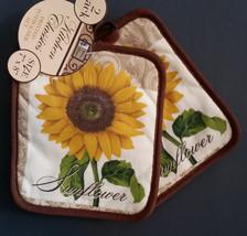 SUNFLOWER POTHOLDERS Set of 2 Yellow Flower Brown trim NEW - $4.99