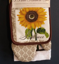 SUNFLOWER  KITCHEN LINEN SET 3pc  Towel Potholder Mitt Fleur-de-Lis Brow... - $12.99