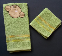 HAND TOWEL and WASH CLOTH Set of 2 Green Yellow Stripe Embroidered NEW - $8.99