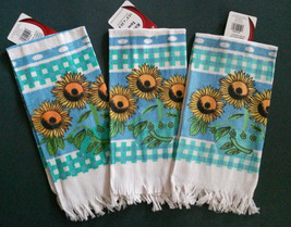 Set of 3 Sunflower Kitchen Tea Towels, Flowers on Blue Green Fence, NEW - $10.99