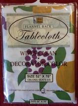 FRUIT Theme TABLECLOTH Vinyl Flannel Back Pear Grapes Apple 52x70 NEW - €8,56 EUR