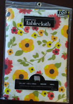 FLOWERS TABLECLOTH 52x52 Red Yellow Flower Vinyl Flannel back Floral NEW - $10.99
