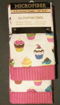 CUPCAKE MICROFIBER TOWELS Set of 4 Pink Cakes Dessert theme Kitchen Towe... - $12.99