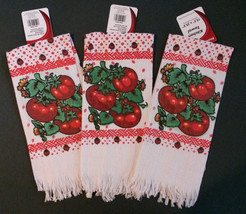 Tomato theme Kitchen Tea Towels Set of 3 Red Tomatoes Vegetable Towel NEW - $11.99