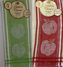 APPLE TEA TOWEL Set of 2 Large Jacquard Kitchen Towel Red Green NEW - $7.99