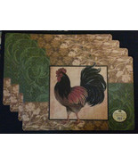 ROOSTER PLACEMATS Set of 4 Vinyl Foam Back Country Kitchen Decor NEW - $14.99