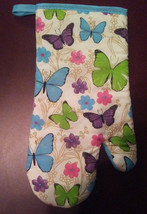 BLUE BUTTERFLY OVEN MITT with Flowers Butterflies NEW - $3.99