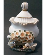 SUNFLOWERS SUGAR POT with Ducks Pottery Gold Trim Country Decorative NEW - $7.99