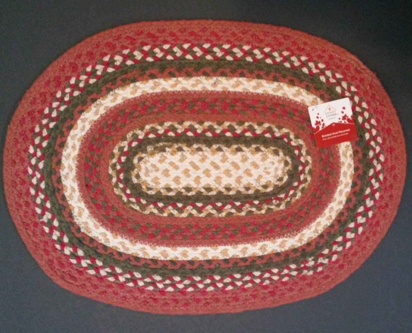 BRAIDED TABLE MAT PLACEMAT Hot Serving Trivet 13x18 Red Green Oval NEW