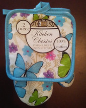 BLUE BUTTERFLY OVEN MITT POTHOLDER SET with Flowers Butterflies NEW - $10.99