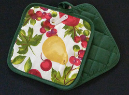 FRUIT theme POTHOLDERS Set of 2 Apple Pear Cherry Green Red Kitchen NEW - $7.99