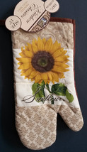 "SUNFLOWER OVEN MITT Yellow Flower Brown 9"" NEW - $3.99"
