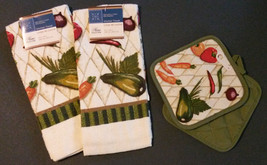 Vegetable Theme Kitchen Set 4-pc Towels Potholders Green Veggies Peppers New - $13.99