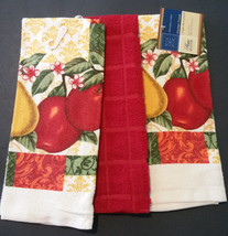 FRUIT KITCHEN TOWELS Set of 3 Red Country Apple Pear NEW - $8.99