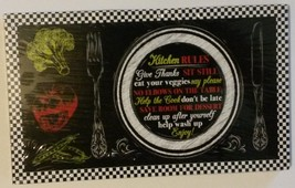 "WALL PLAQUE ""Kitchen Rules"" on dinner plate 5x8 Wood NEW - $8.99"