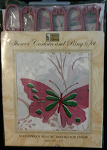 Butterflies Shower Curtain and Ring Set - Plastic, Pink / Green, 70 x 72 NEW - $10.99