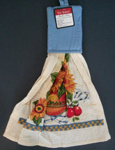 Sunflower Hanging Kitchen Tea Towel Potholder Flowers Apples in Bowl NEW - $4.49