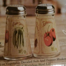 VEGETABLE design SALT PEPPER SHAKERS Glass Country Garden Decor NEW - $11.99