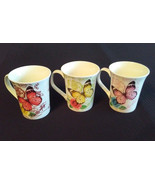 BUTTERFLY Design MUGS Set of 3 China Butterflies Rose Flowers All For Yo... - $19.99