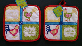 SPRING ROOSTER POTHOLDERS Set of 2 Blue Checked Red Trim Chicken Sayings... - $7.99