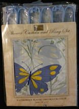 Butterflies Shower Curtain and Ring Set - Plastic, Blue / Yellow, 70 x 72 NEW - $10.99