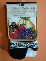 FRUIT theme KITCHEN SET 7-pc Potholders Oven Mitt Towels Cloths Apple Gr... - $16.49